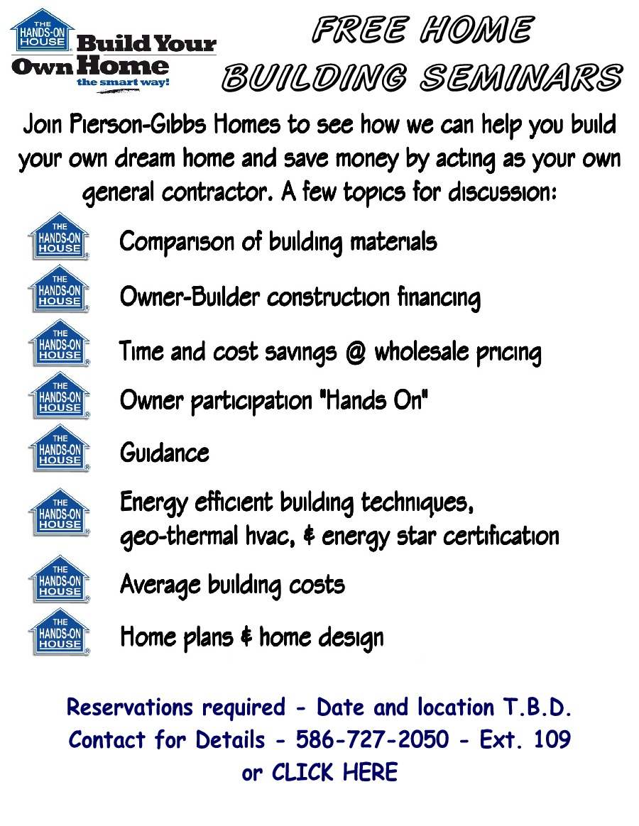Pierson-Gibbs Homes free home building seminars